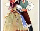 Slovenian Folk Dancers Print Polka Dance Slovenia Ethnic Dress National Costume Vladimir Kirin Gorensko Vintage 1950's Original