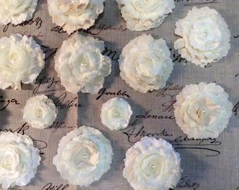 Rustic Shabby handmade fabric flowers for embellishing set of 6