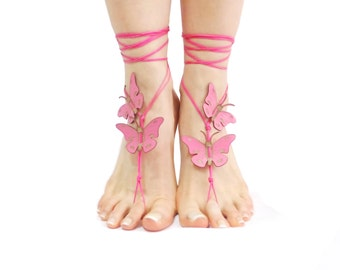 Genuine leather butterfly Barefoot sandal, Pink Butterfly, 12 Color Options, Bohemian shoes, Leg Jewelry, Foot Thongs