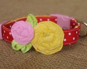 Dog Collar - Red Polka Dot with Yellow and Pink Flowers and Small Green Leaves