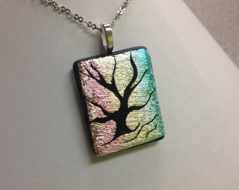 Etched Dichroic Tree of Life: Textured pastel background