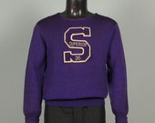 RESERVED Vintage Mens 1930s Sweater -- Royal Purple Wool Letterman's Jumper -- Letter S Superior WI -- Size Medium