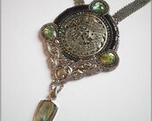 Gatekeeper - Medieval style inspired necklace with carved shell medallion and Paua shell, bead embroidered