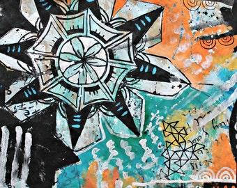 Black Star -  black blue orange original mixed media painting funky doodle art acrylic collage art