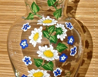 Hand Painted Glass Vase With Daisies And Blue Flowers, Unique Gift Ideas