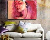 """Oil Portrait Painting, 36"""", Large art painting, Original canvas art, Unique, Abstract art, Ready to Hang, - Freed VI"""