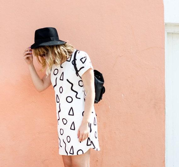 Shapes Shift Dress - Stone or White Fabric - Zana Products Pattern Dress