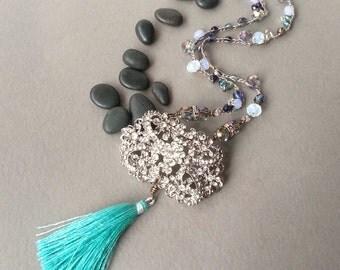 Rhinestone Luxe Tassel Necklace, Crystal Blue Green Aqua, Tassel Jewelry, Beaded Crochet, Modern Glam Jewelry, Boho Chic, Tami Lopez Designs