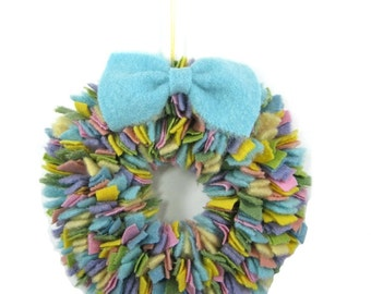 Pastel rag wreath Wool proddy wreath Bright spring colors Easter decor Eco friendly decor Upcycled blankets