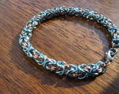 Blue and Copper Byzantine Chainmaille Bracelet