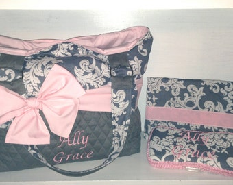 Personalized Diaper Bag Set In Pink & Grey.  Bag, Changing Pad, Wipe Case.  Interchangeable Bow/Sash Around The Bag