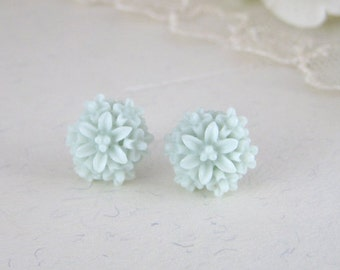 Powder Blue Earrings - Resin Flower Earrings - Flower Earrings - Dahlia Earrings - Stud Earrings