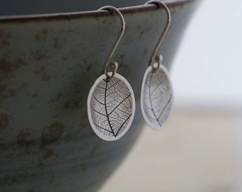 Silver Leaf Dome Earrings      PMC Fine Silver Clay Jewellery   Handmade Recycled Silver Jewelry
