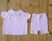 Hannah baby set | Vintage baby girls knit top and pants set with lace ribbon trim