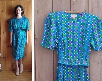 Vintage dress | 1980s/90s Adrianna Papell silk mod op art print dress