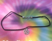 Simple Silver Pentacle Choker - Black Suede, Leather, Faux Suede