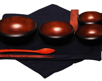 Mango Wood Soto Oryoki Black & Chestnut Bowl Set