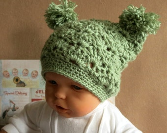 Pale Green Beanie, Crochet Wool Baby Hat with Pom Poms, Photo Prop, Baby Shower Gift, Nchanted Gifts