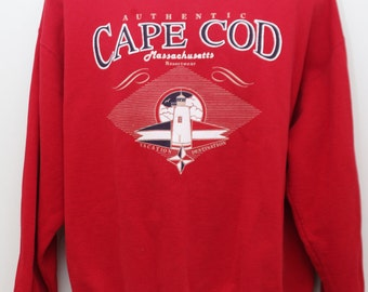 "Rare 80's Vintage ""CAPE COD"" Massachusetts Sweatshirt Sz: LARGE (Men's Exclusive)"