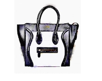 Celine Black and White Phantom Bag Print from Watercolor Painting Fashion Illustration Poster Purse Handbag