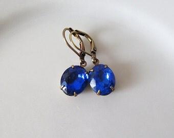Sapphire Rhinestone Earrings - Blue Elegant Vintage Glass Jewel Dangle Earrings - Antique Brass - Lever back ear wires