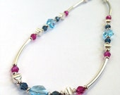 Silver Tube Necklace, Sterling Silver Jewelry, Swarovski Crystal Necklace, Beaded Jewelry, Statement Jewelry, Multicolor Necklace