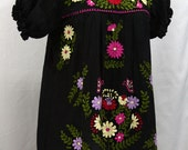 """Mexican Peasant Blouse Top Hand Embroidered: """"La Mariposa"""" Black with Colorful Embroidery"""