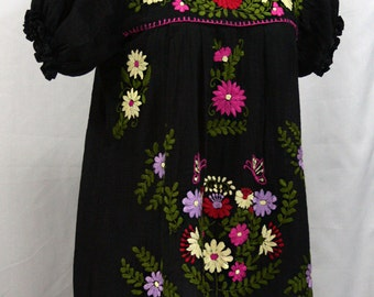 "Mexican Peasant Blouse Top Hand Embroidered: ""La Mariposa"" Black with Colorful Embroidery"