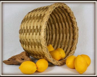 Hand Woven Round Table Basket, Handmade with Natural and Smoked Reed