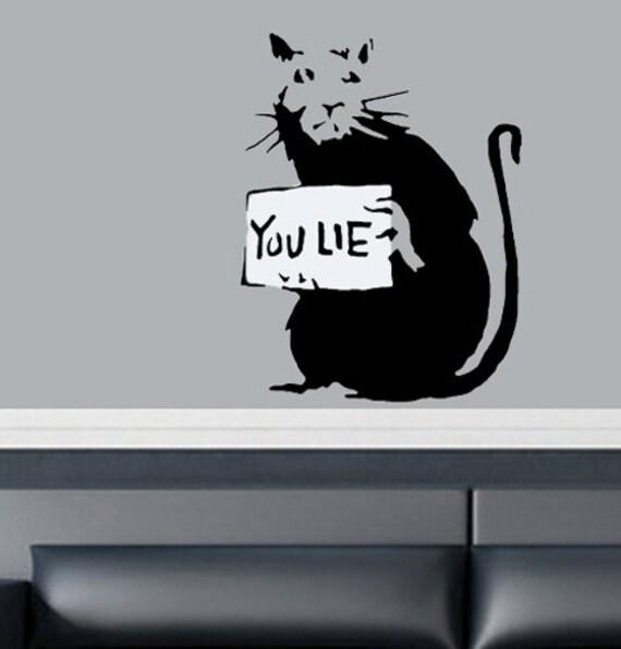 Banksy rats stencils you lie banksy rat reusable by for Banksy rat mural