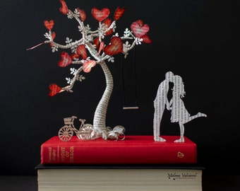 The Tree of Love - Book Art - Book Sculpture - Altered Book