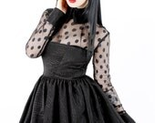 ADELE PIERRI 'Clara' Goth Glam Rock style Black Collared Babydoll Mini Dress with Sheer Spotted Mesh Sleeves and Large cuffs