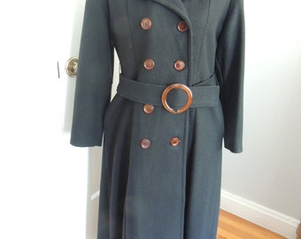 Vintage 1960s belted trench coat, black, long, S to M