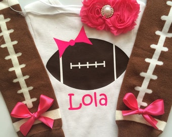 Baby Girl Football Outfit - personalized baby girl outfit - football legwarmers - girly football outfit-HOT PINK- choose your pieces