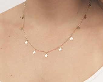 Gold necklace tiny gold star necklace layering necklace everyday necklace minimalist delicate gold filled jewelry.