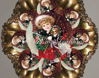 Christmas Children Tags 2.5 Inch Vintage Children Tags Holiday Postcard Tags