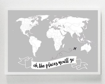 Oh, The Places You'll Go WORLD MAP - Kid Room, Kids, Children's, Nursery, Playroom, Decor, Art, Dr. Seuss, Maps