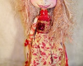 "Cloth Doll, Art Doll, HOPE the Pixie Holiday Doll 13"" Red, Gold and cream"