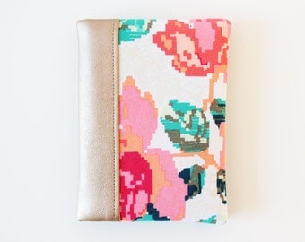Passport Holder, Passport Cover, Passport Case with Flowers and Faux Leather