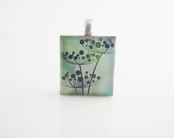 Wild flowers Necklace - Green Pendant - Scrabble Tile on Sterling Silver 925 bail and chain, Floral necklace, Floral pendant