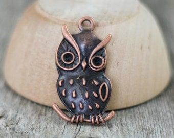 Antique Copper Owl Charm Pendant - 39mm - 4 pendants
