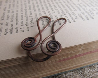 Bookmark Hammered Copper Spiral Rustic