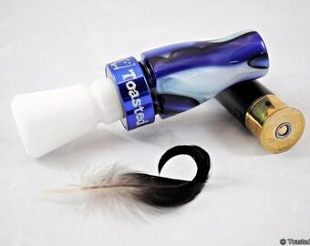 Duck Call - Bright Blue Sea/Blue & White - Mallard Single Reed