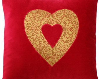 Red Velvet and Gold Brocade Heart Decorative Pillow - 17 x 17 inches