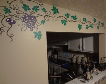 Grape Vine Decal Wine Home Decor Wall Art Sticker Kitchen Dining Room Bar Winery Pass Through Archway Hanging Vines Leaf Red Wine Gift Mural
