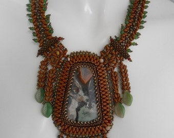 Woodland, OOAK Bead Embroidered,  and Off loom woven Statement Neckpiece