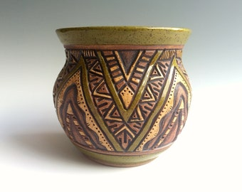 AZTEC Hand Carved Pottery VASE - Olive Green, Brown & Tan -  Triangle Geometric Design - Original and Unique  - Planter, Flowers - Rustic