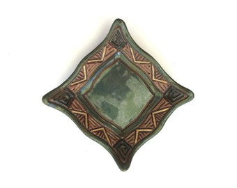 Hand Made Knick Knack Dish or Jewelry Holder - Aztec Stoneware Slab - Blue Green Brown Tan - Hand Carved Triangles Textured Original Unique