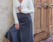 Grey Maxi Skirt, Long Maxi Skirt, A Line Skirt, Fold over Waistband Skirt, Marengo Gray Skirt, Womens Skirt