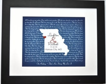 Any state song lyrics print, missouri map kansas city valentines day unique wedding gift for couple husband wife gifts canvas opt wall art